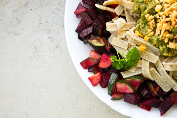 Chickpea Pasta with beetroot, pesto and vegan cheese.