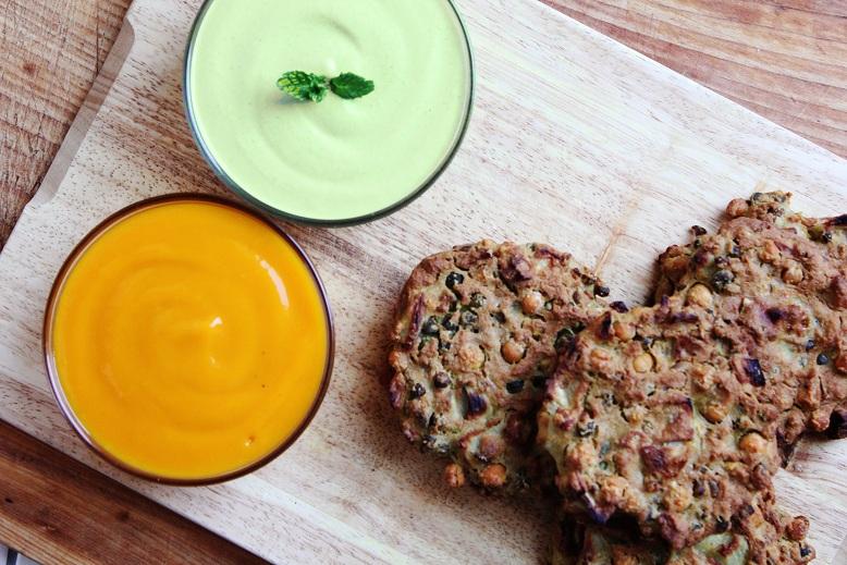Chickpea Patties, Mint Raita & Mangosauce | Kichererbsenbratlinge, Minz-Raita & Mangosauce